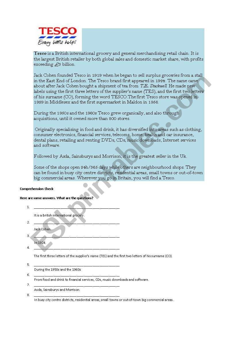 Tesco worksheet
