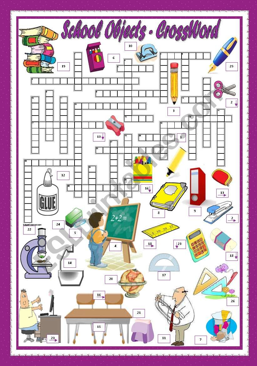 SCHOOL OBJECTS - CROSSWORD worksheet