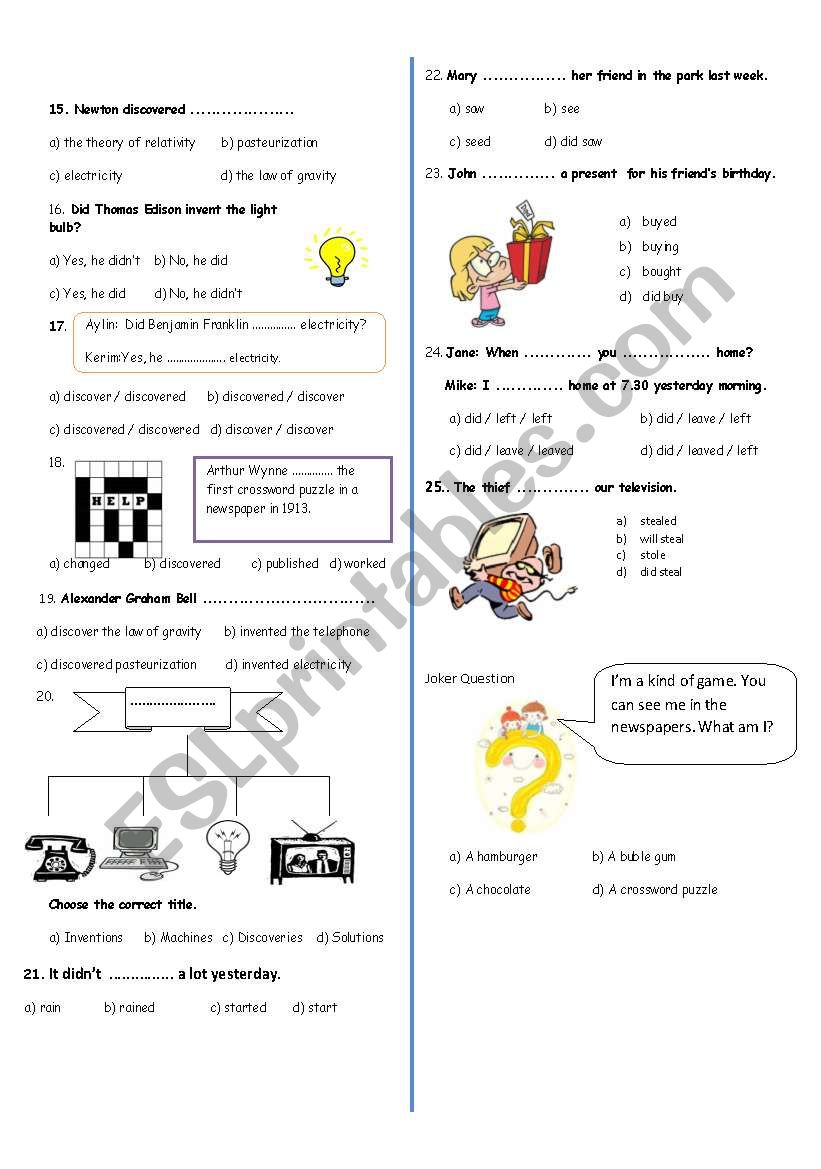 7th grade exam (part 2) worksheet