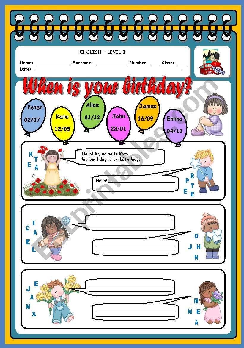 WHEN IS YOUR BIRTHDAY? - ESL worksheet by xani