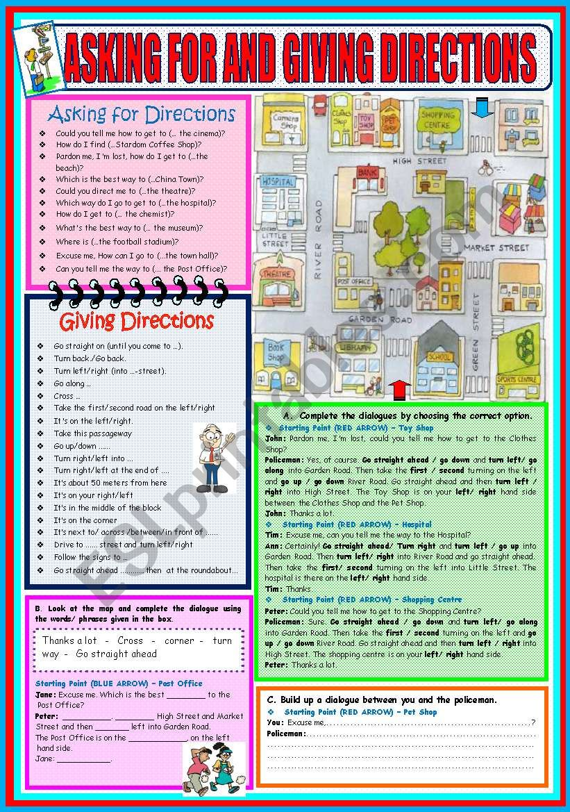 ASKING FOR AND GIVING DIRECTIONS - FULLY EDITABLE