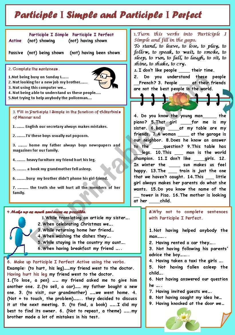 Participle I Simple and Participle I Perfect (exercises for writing and speaking + a key)