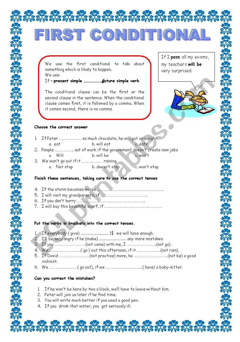 48f0ed845277ec FIRST CONDITIONAL - ESL worksheet by ballesteros