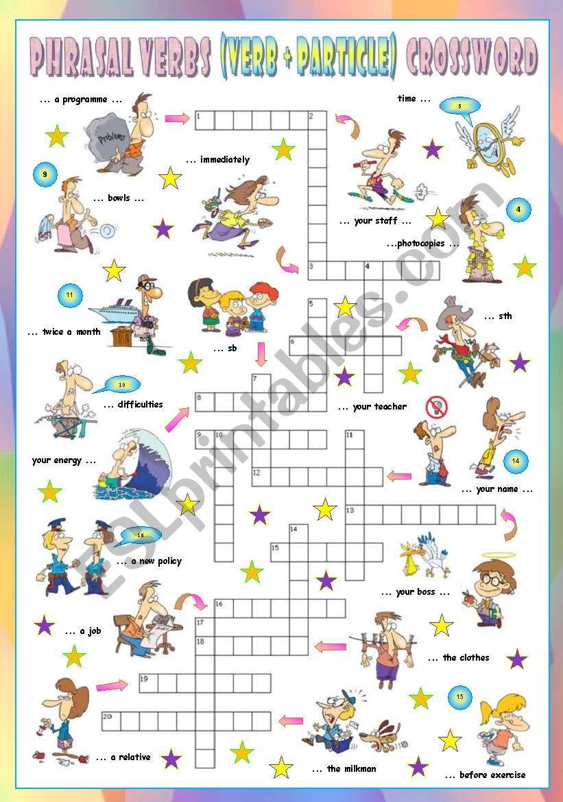 Phrasal Verbs (Eleventh series). Crossword (Part 3/3)