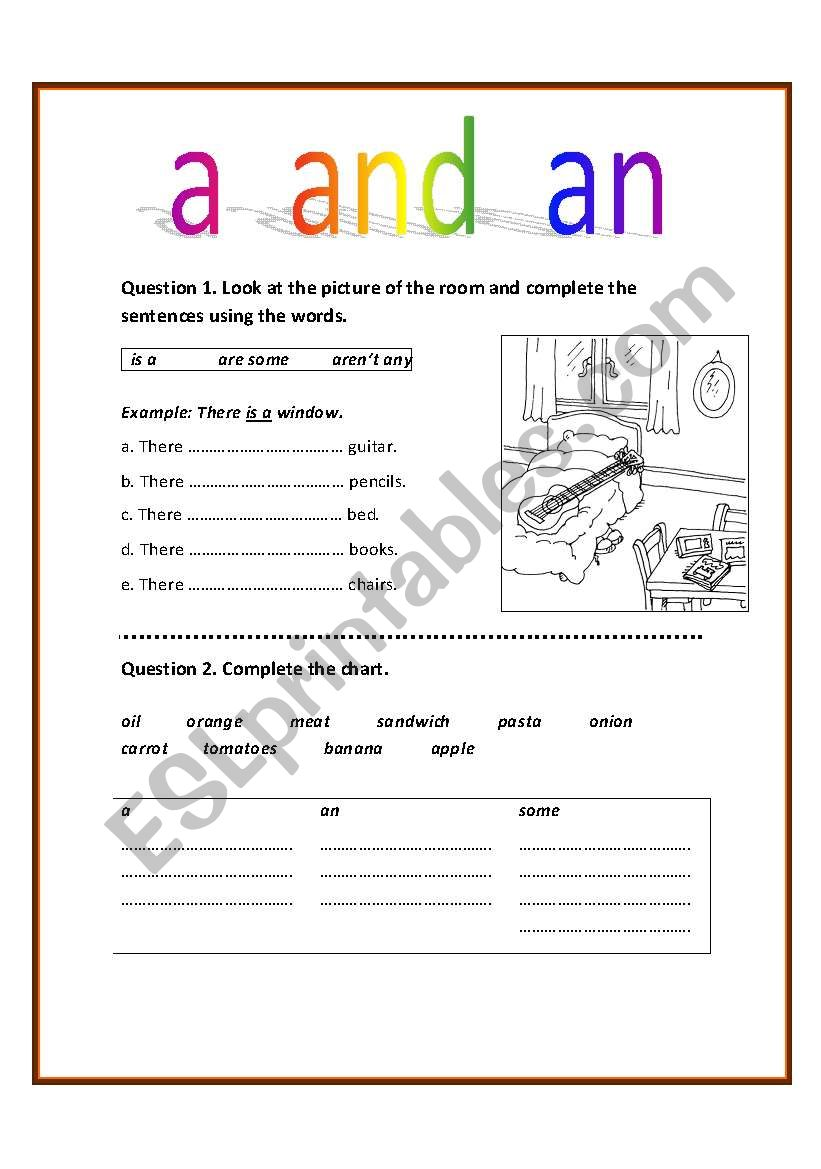 English Worksheets Using A And An
