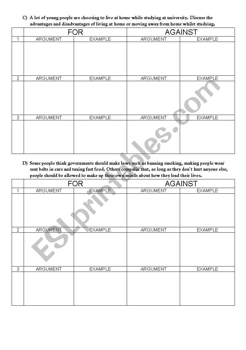 English worksheets: Argumentative essay topics and argument tables