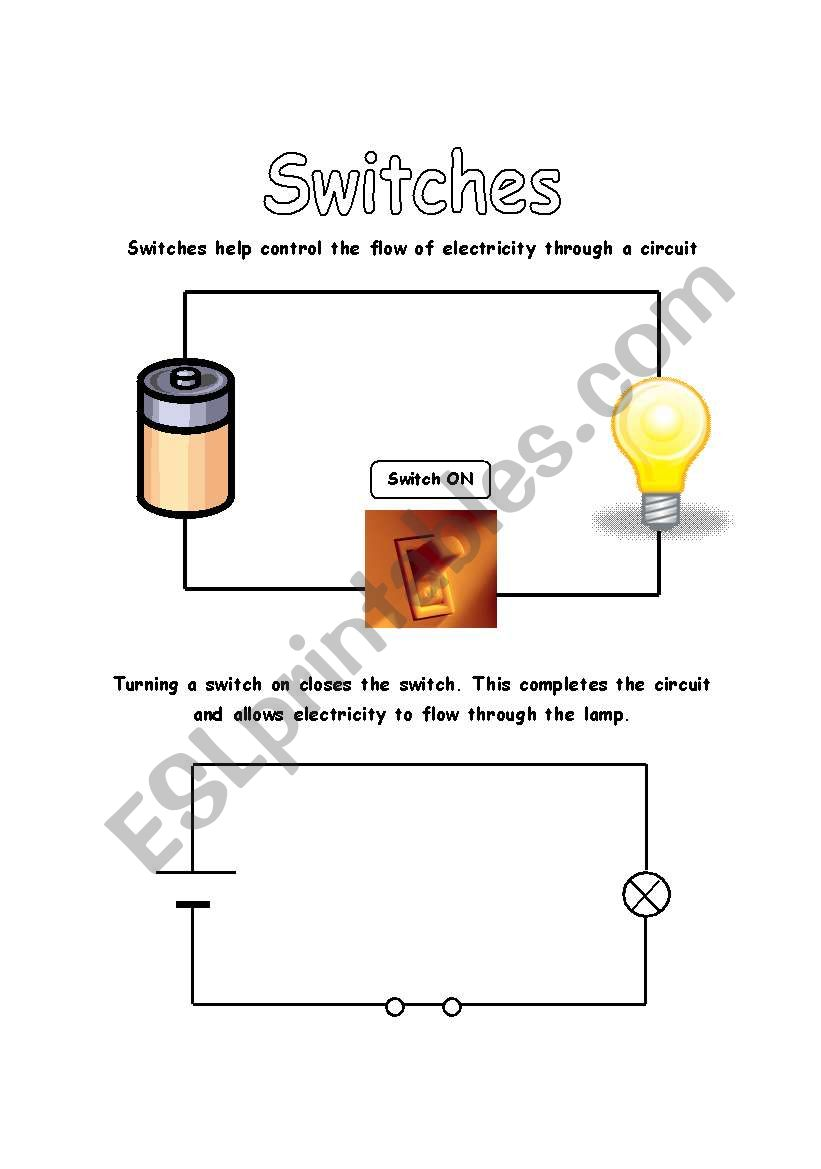 Electrical Circuits Switches Esl Worksheet By Iman Bendjedidi Switch In Circuit