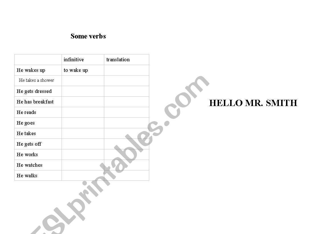 Hello Mr. Smith worksheet