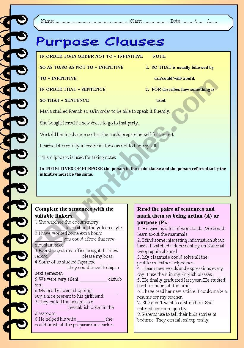 Purpose clauses worksheet