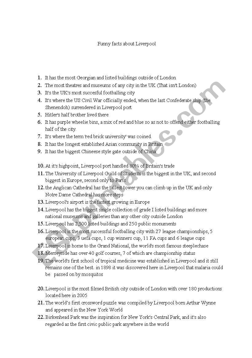 funny facts about Liverpool worksheet