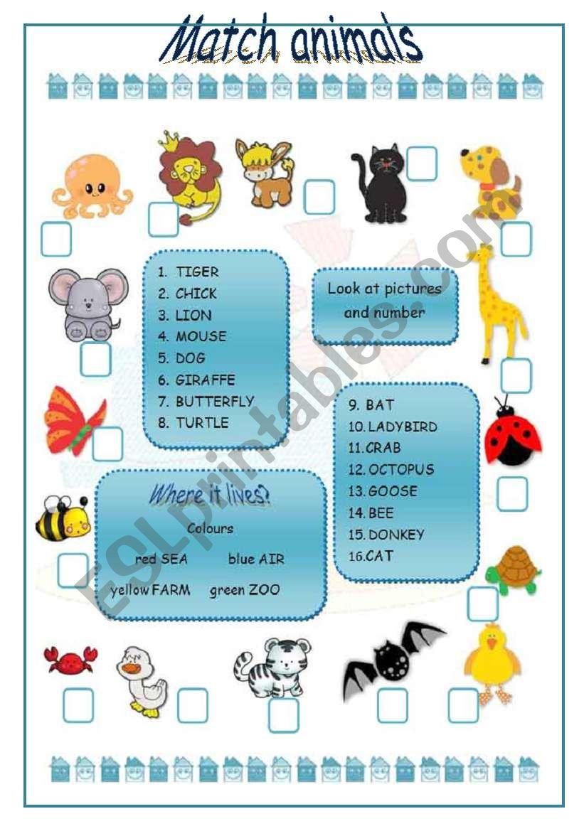 Match animals - ESL worksheet by marinaru