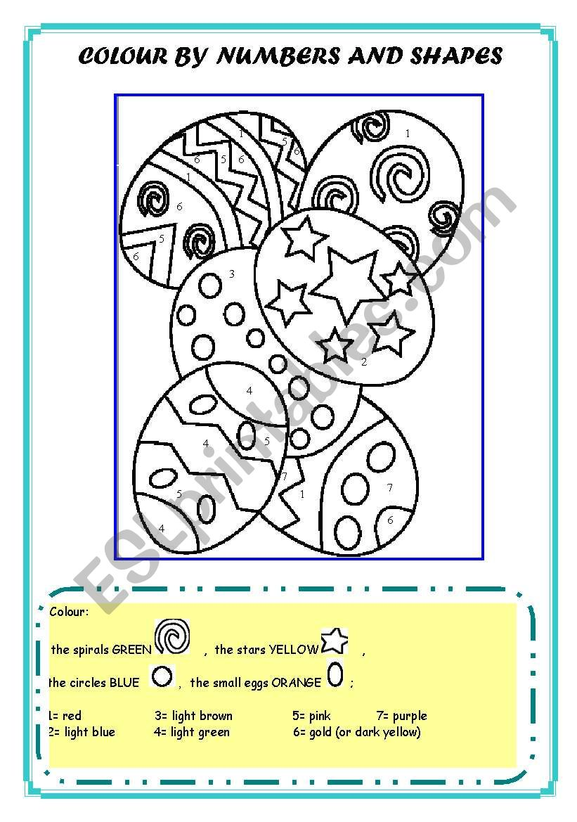 COLOUR BY NUMBERS AND SHAPES worksheet