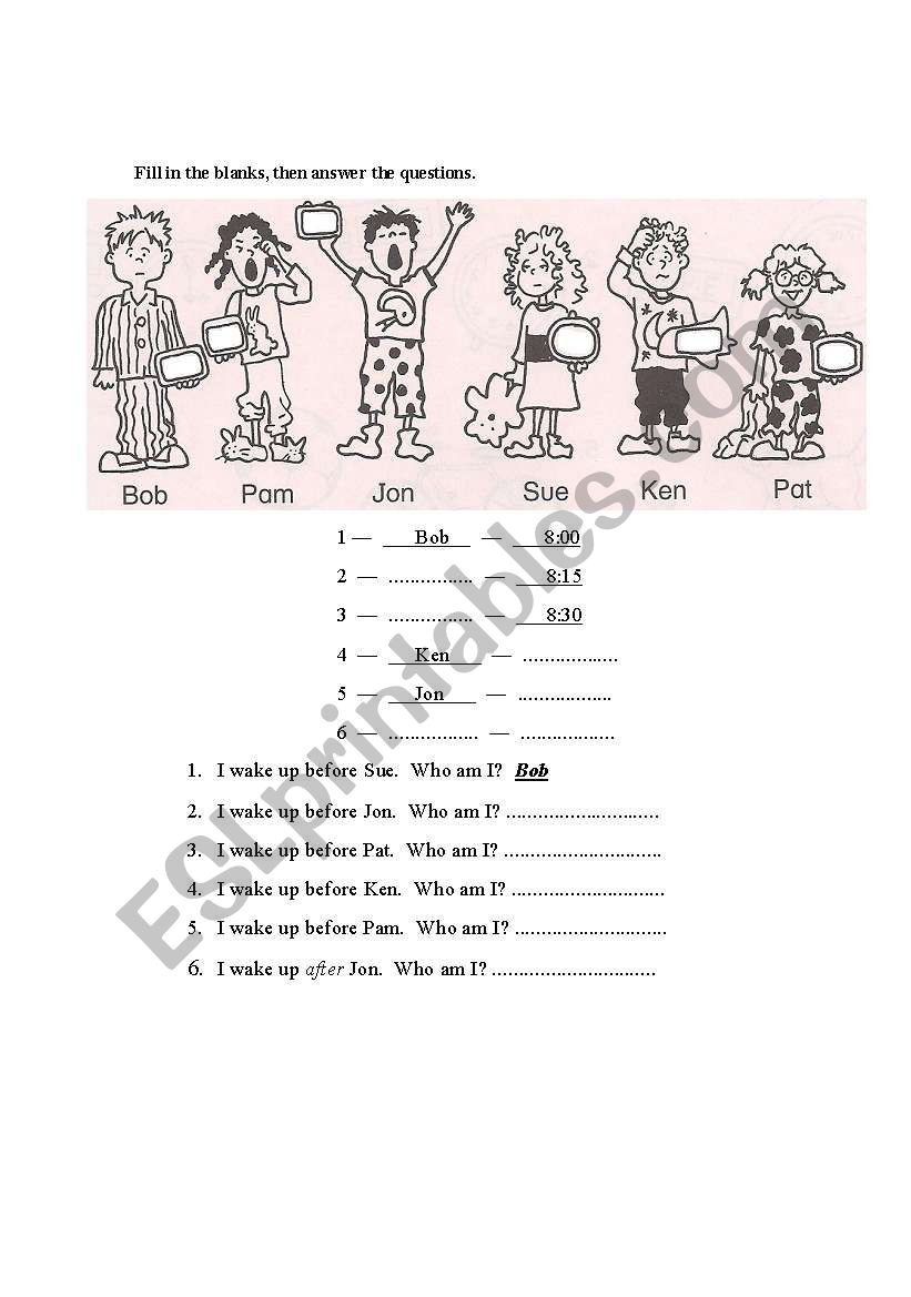 TIME: BEFORE AND AFTER worksheet