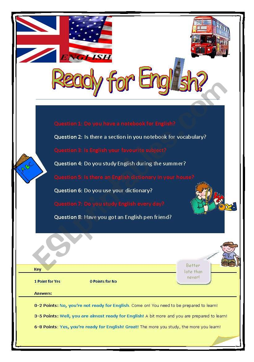 Ready for English? worksheet
