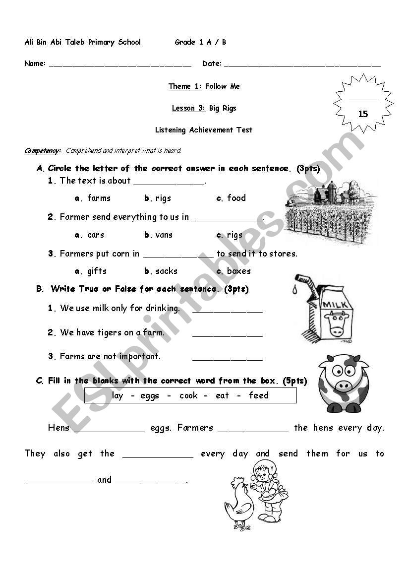English worksheets: Grade 1 Listening Text