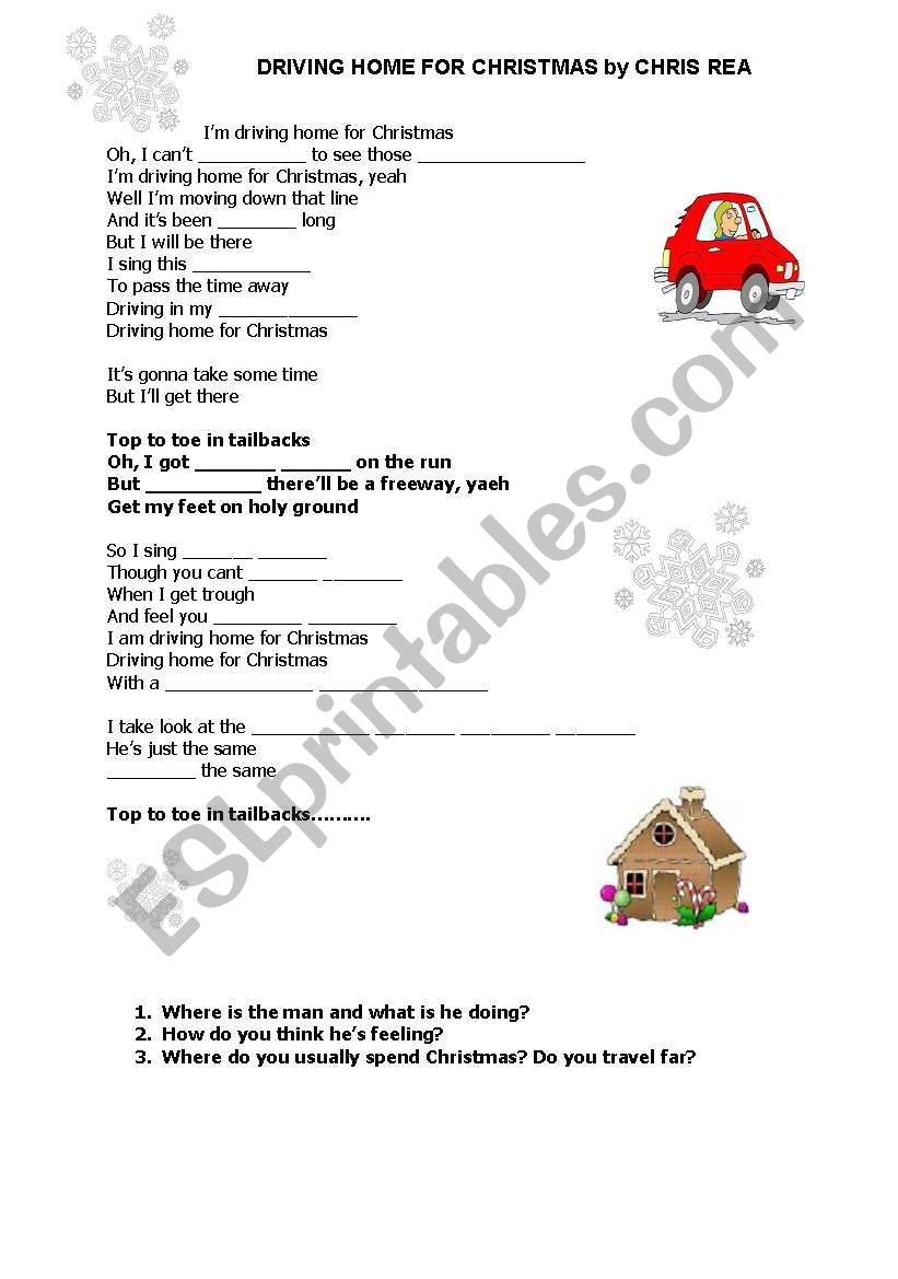 Driving home for Christmas by Chris Rea (Song) - ESL worksheet by ...
