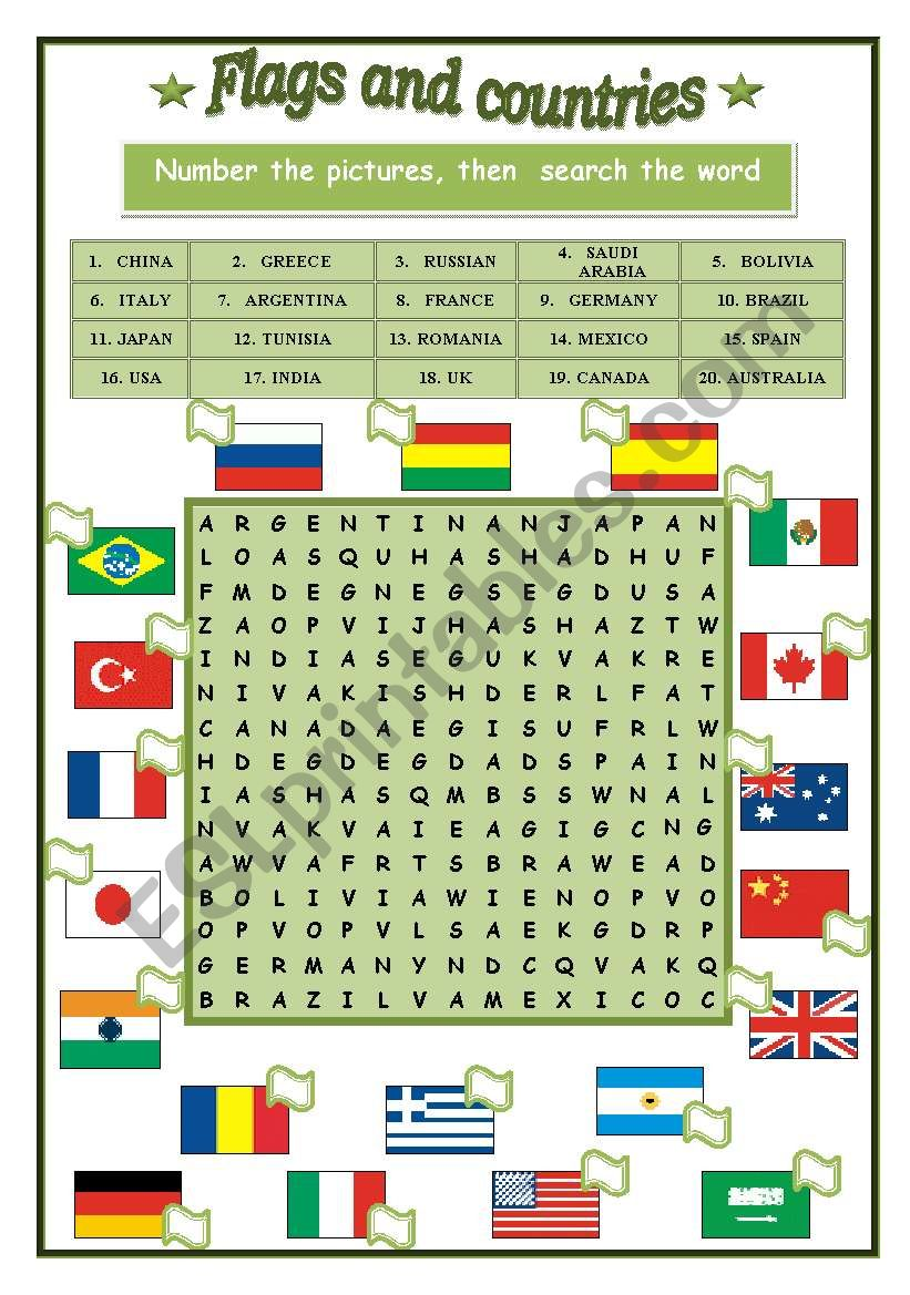 Flag and countries worksheet