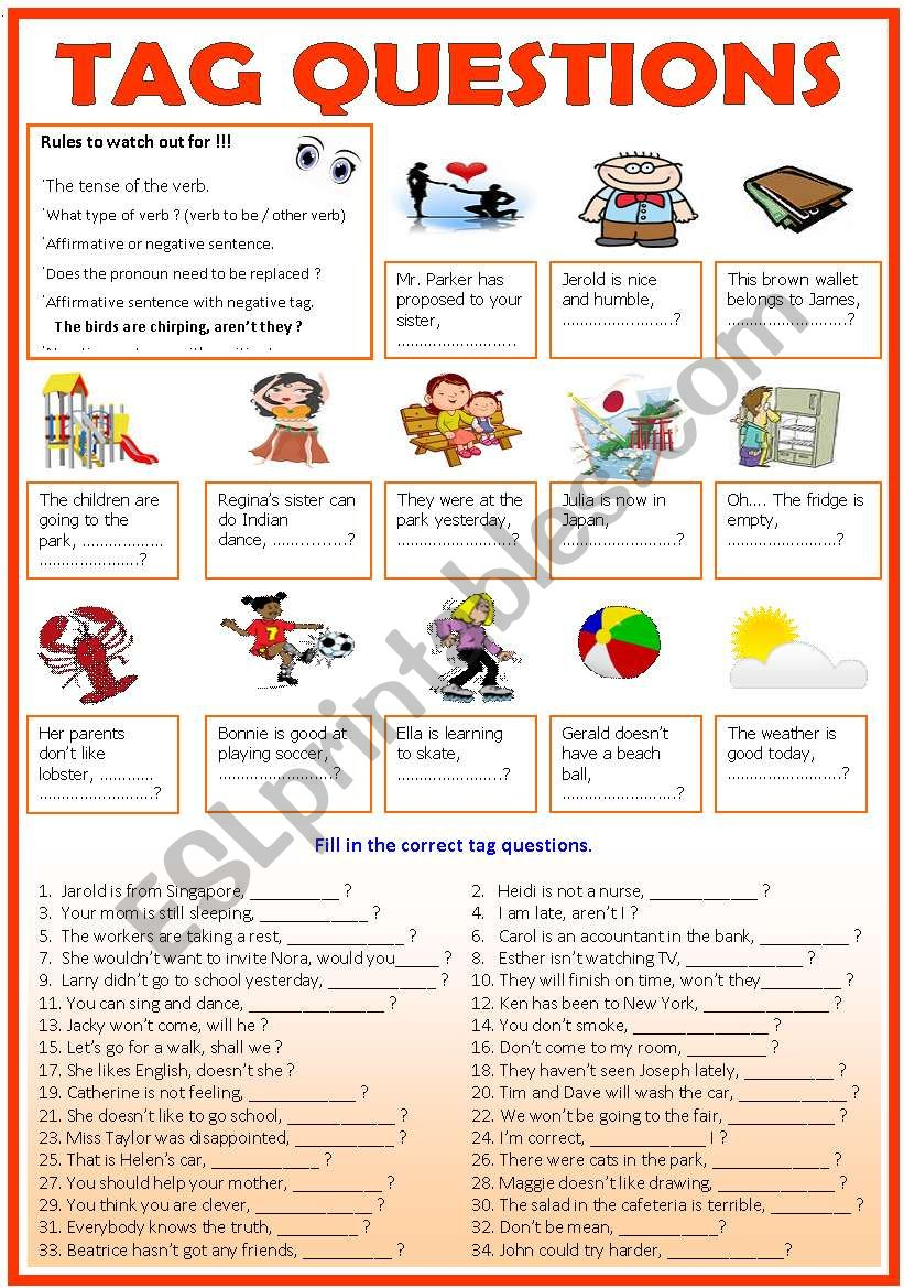TAG QUESTIONS ( b/w & Keys) worksheet