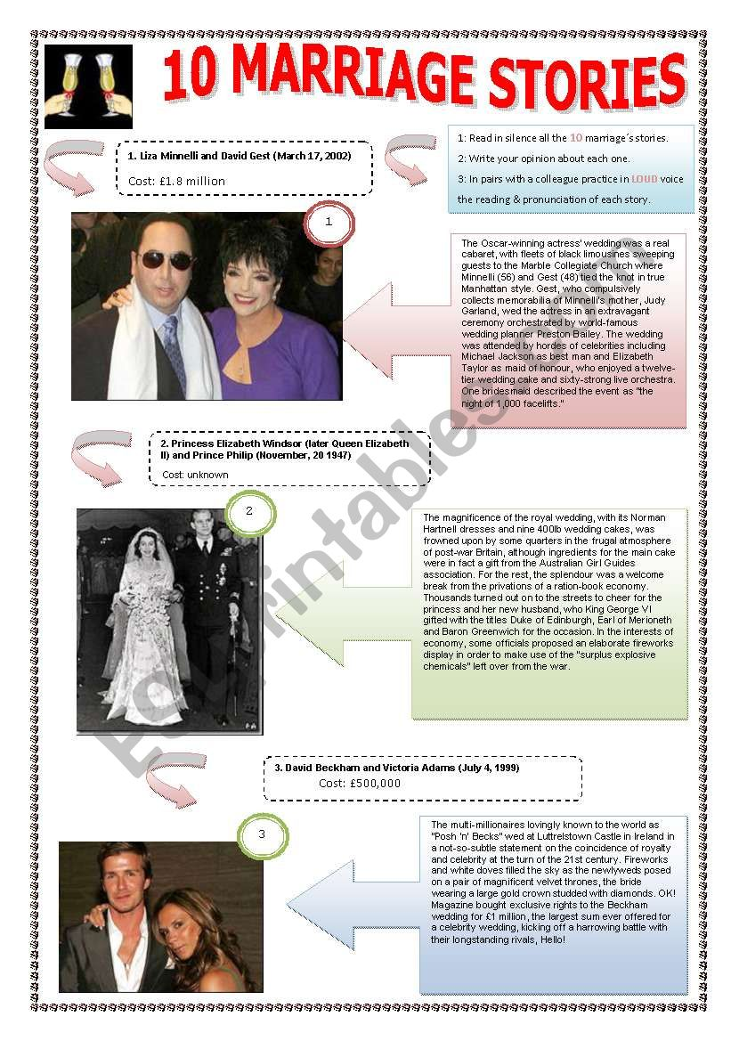 MARRIAGE & STORIES - (5 PAGES) The 10 most extravagant weddings ever -  Complete ws with 10 famous celebrities + texts and  5 exercises + 11 extra activities