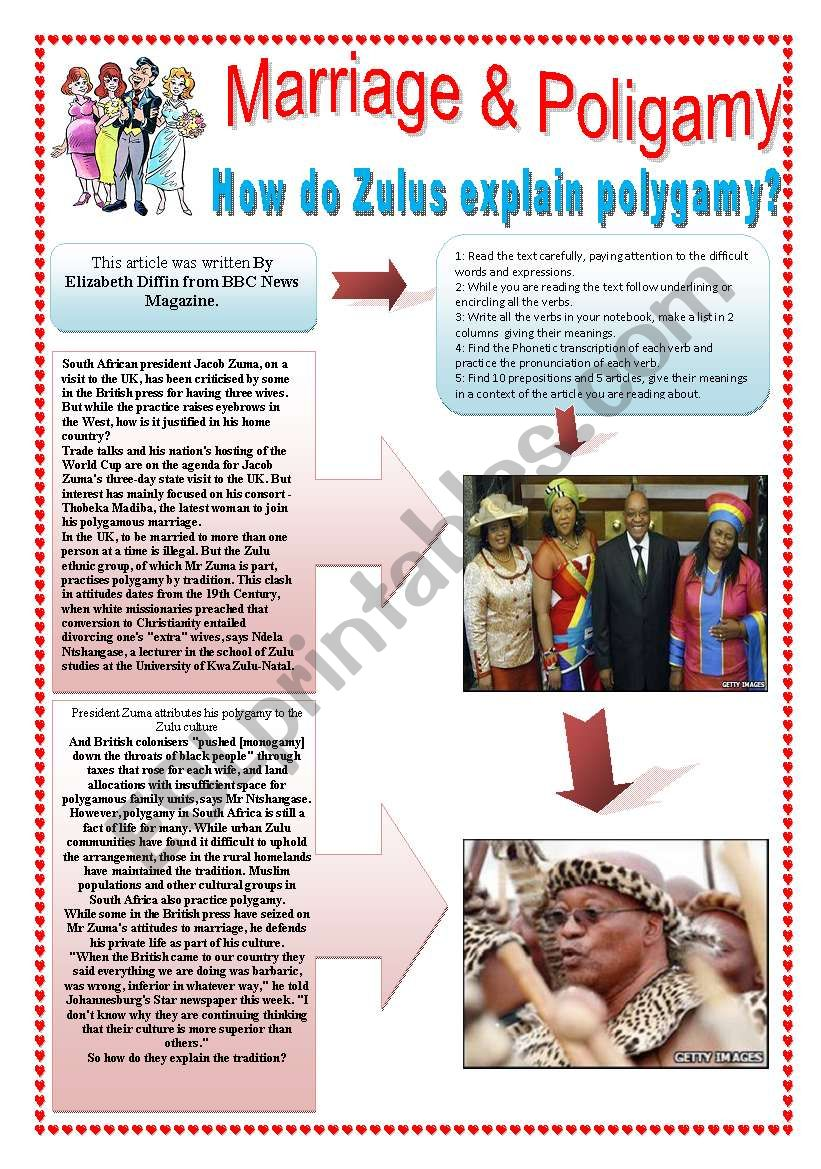 MARRIAGE & POLYGAMY - (4 pages) How do Zulus explain polygamy?  - 10 reading & comprehension activities + 10 extra activities