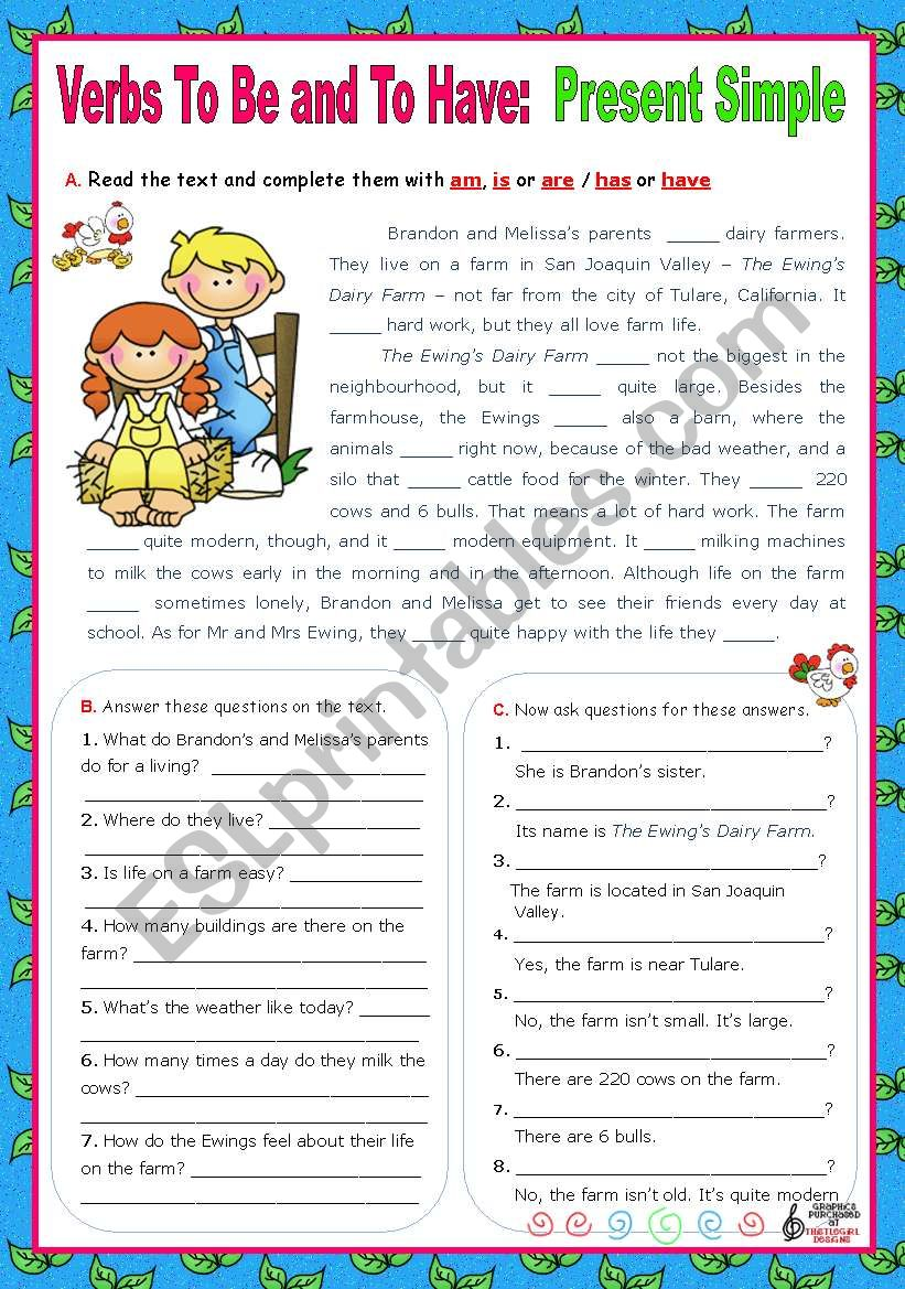 Verbs to be and to have - Simple Present - Affirmative, negative and Interrogative forms (5)