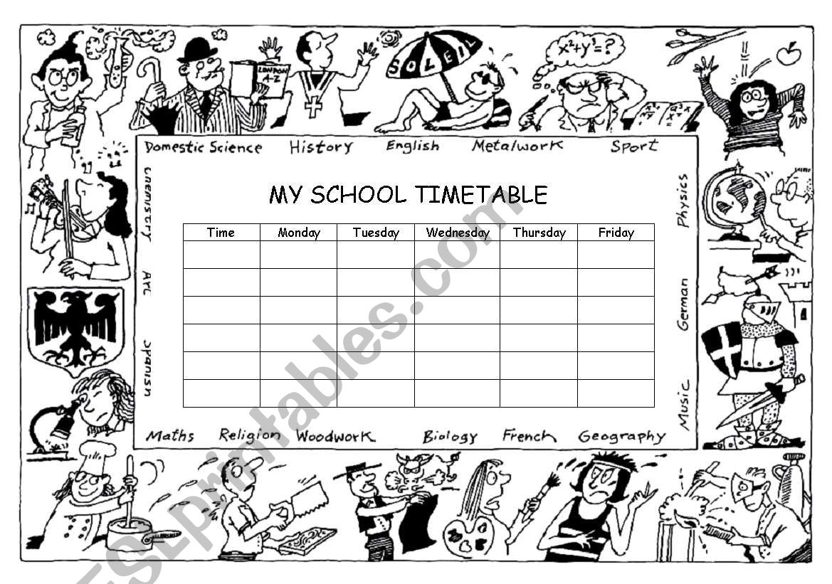 My school timetable worksheet