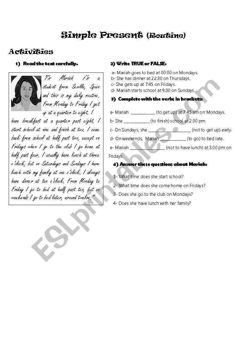 Mariah´s daily routine worksheet