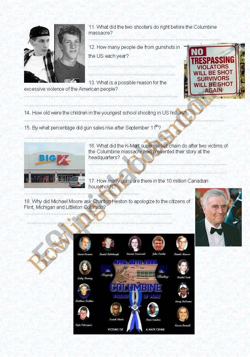 Michael Moore´s Bowling for Columbine: Comprehension Questions, Part II