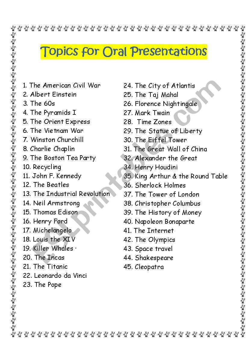 Topics for Oral Presentations worksheet