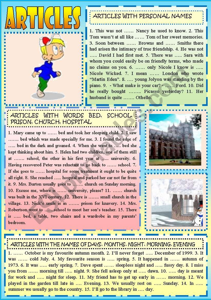ARTICLES (4 pages) worksheet