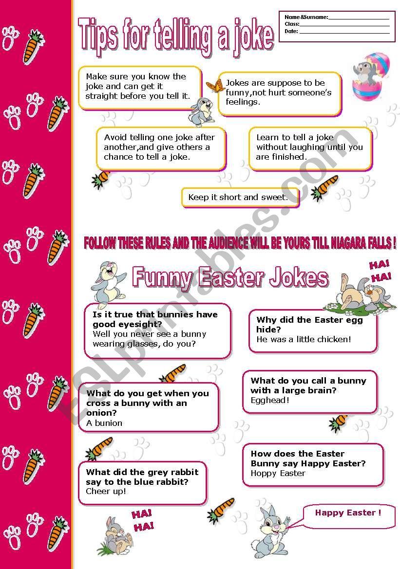 Funny Easter Jokes & Tips  worksheet