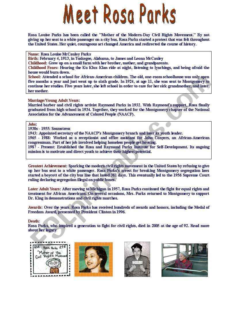 FACT FILE : Meet ROSA PARKS / Level A2+/B1 - ESL worksheet ...