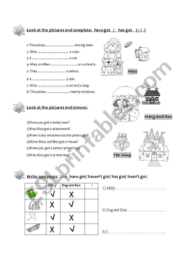 Have got/ Has got (+/ - / ?) worksheet