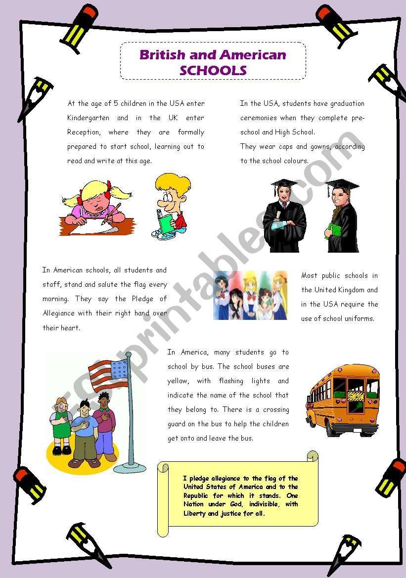 British and American schools worksheet