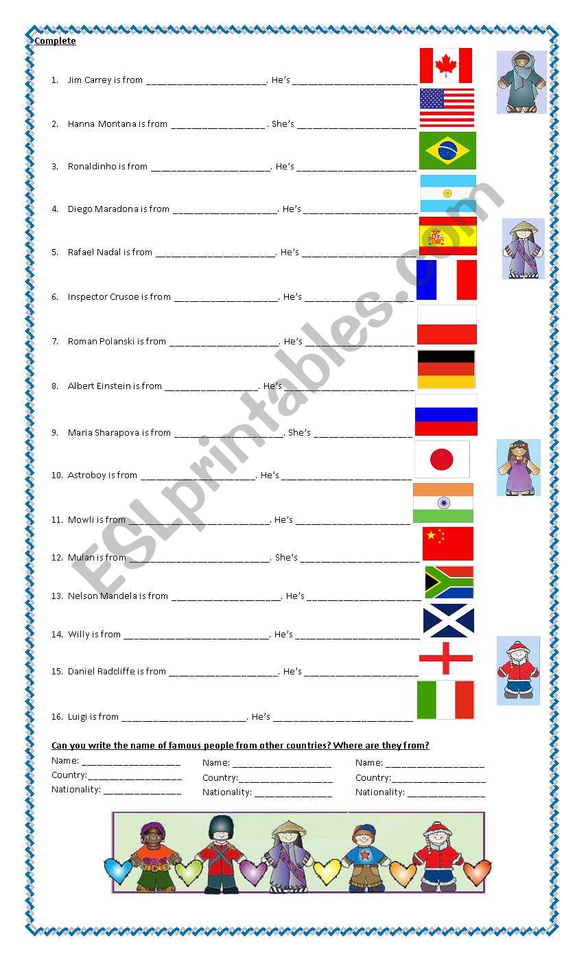 countries and nationalities 2 worksheet