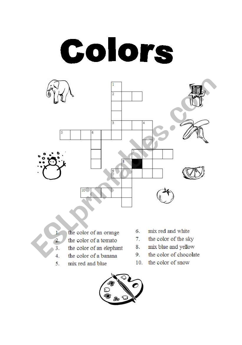 crossword on colors worksheet