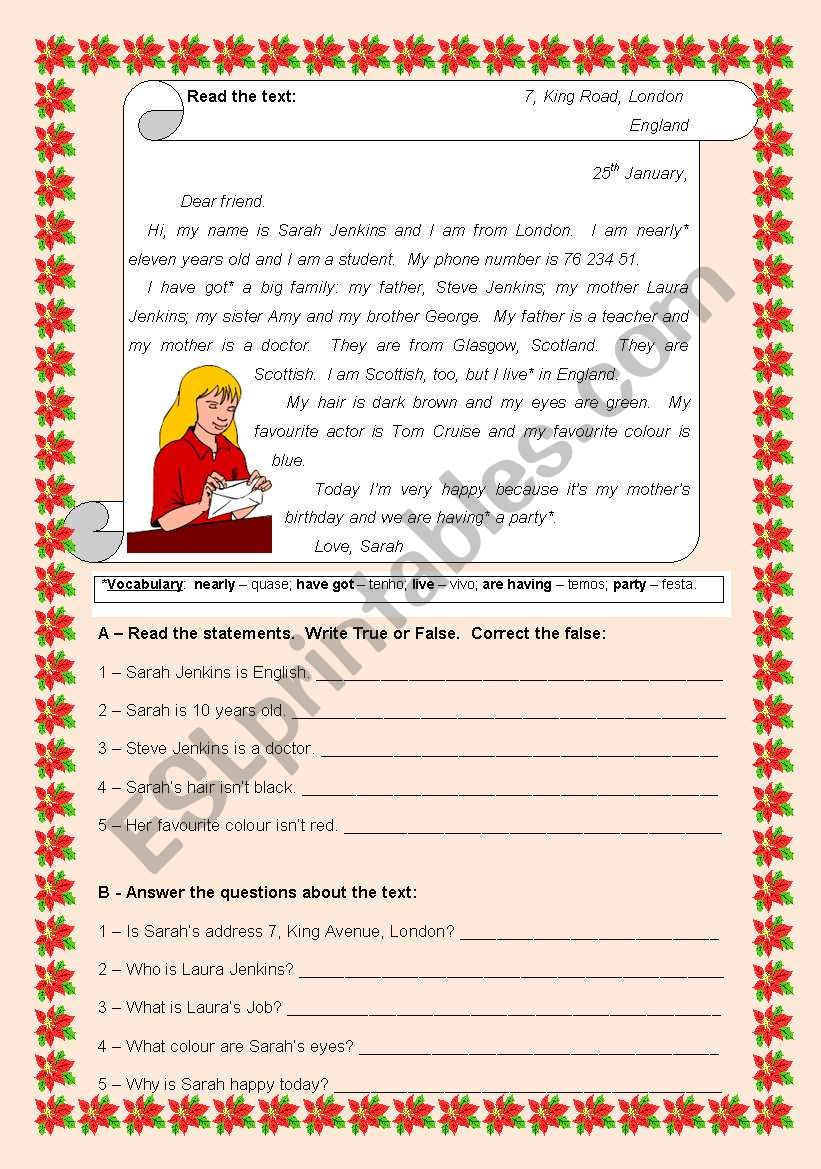 A  letter from Sarah worksheet