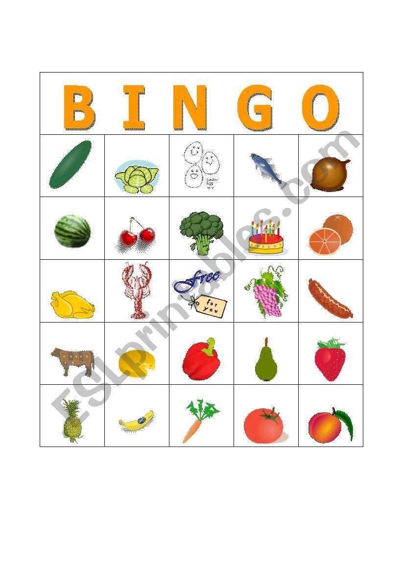 english worksheets  food bingo card 3