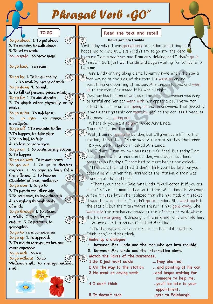 Phrasal Verb GO worksheet
