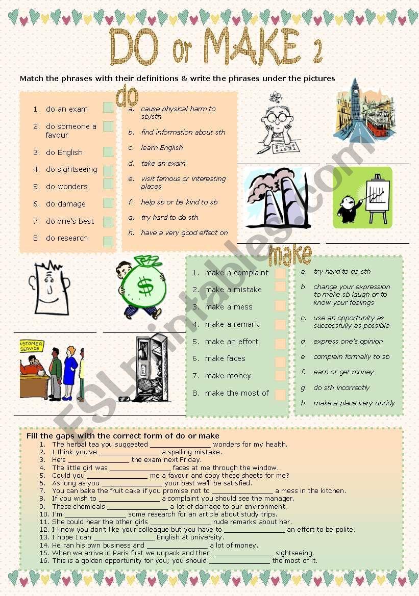 Do or make 2 worksheet