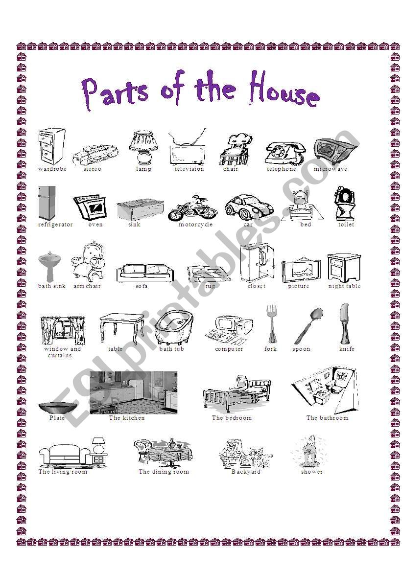 Parts of the House Pictionary worksheet