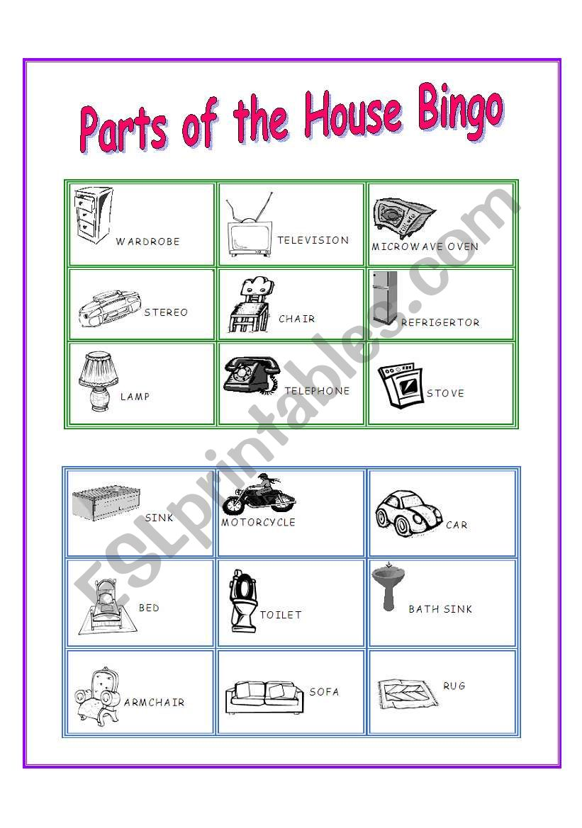 Parts of the House Bingo - ESL worksheet by costaricanangel