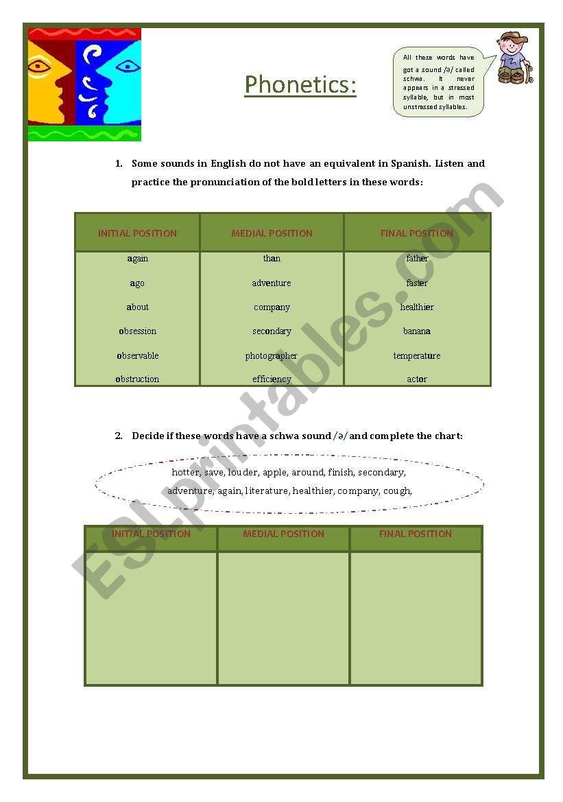 Phonetics (schwa) worksheet