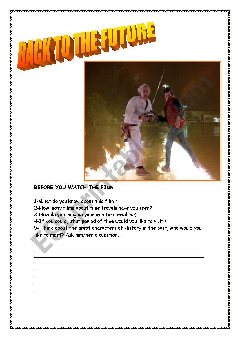 BACK TO THE FUTURE  worksheet