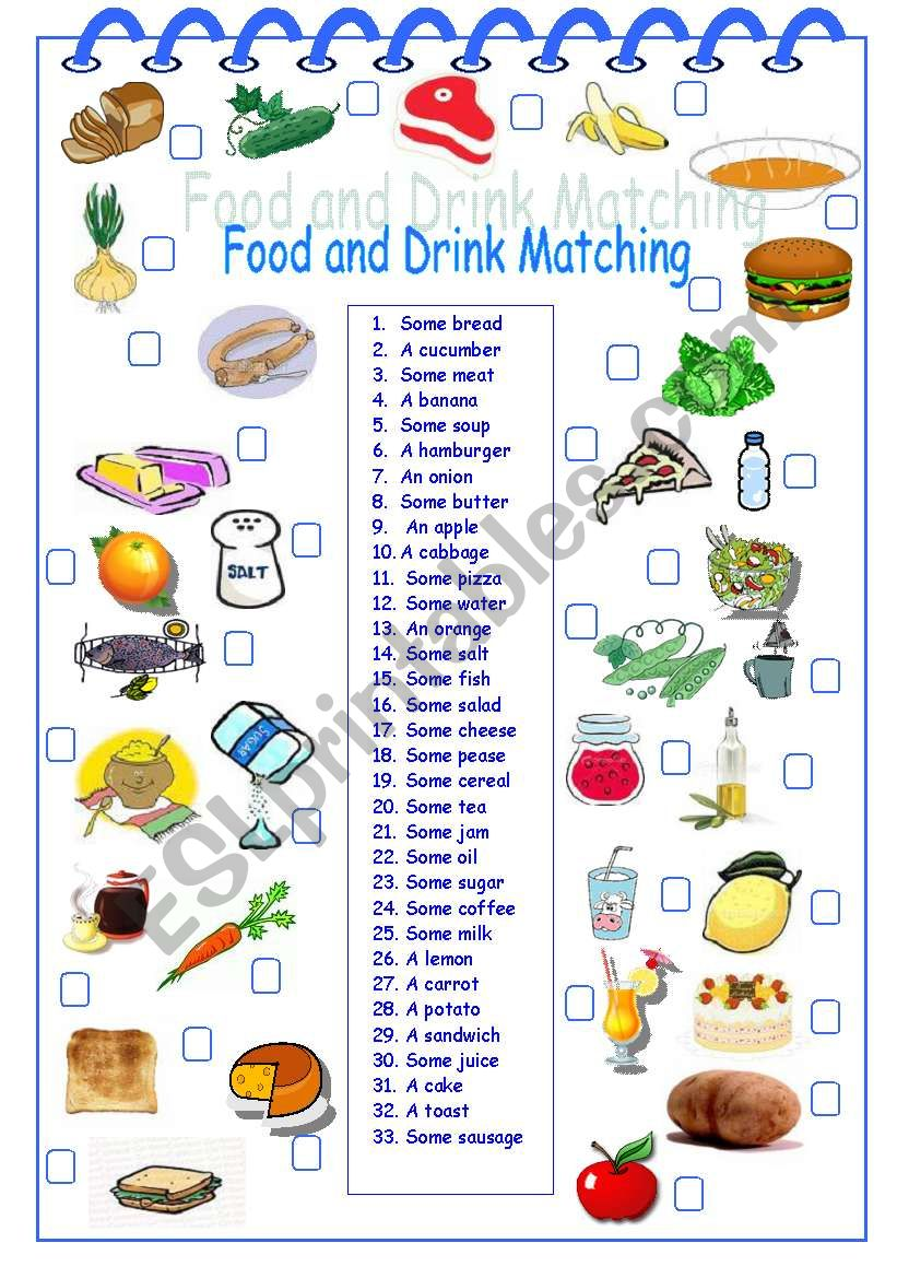 food drink matching worksheet drinks vocabulary worksheets esl preview