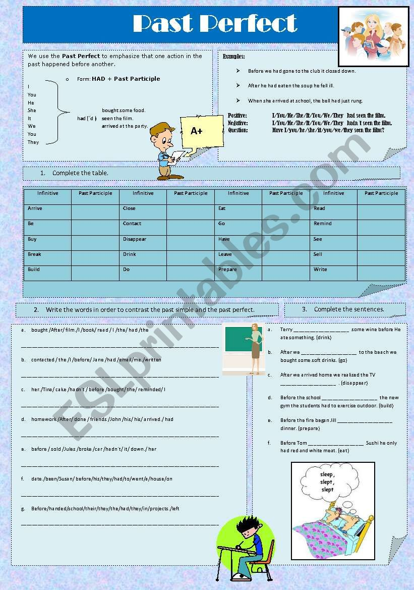 Past Perfect: + Greyscale + Answer key - ESL worksheet by ...