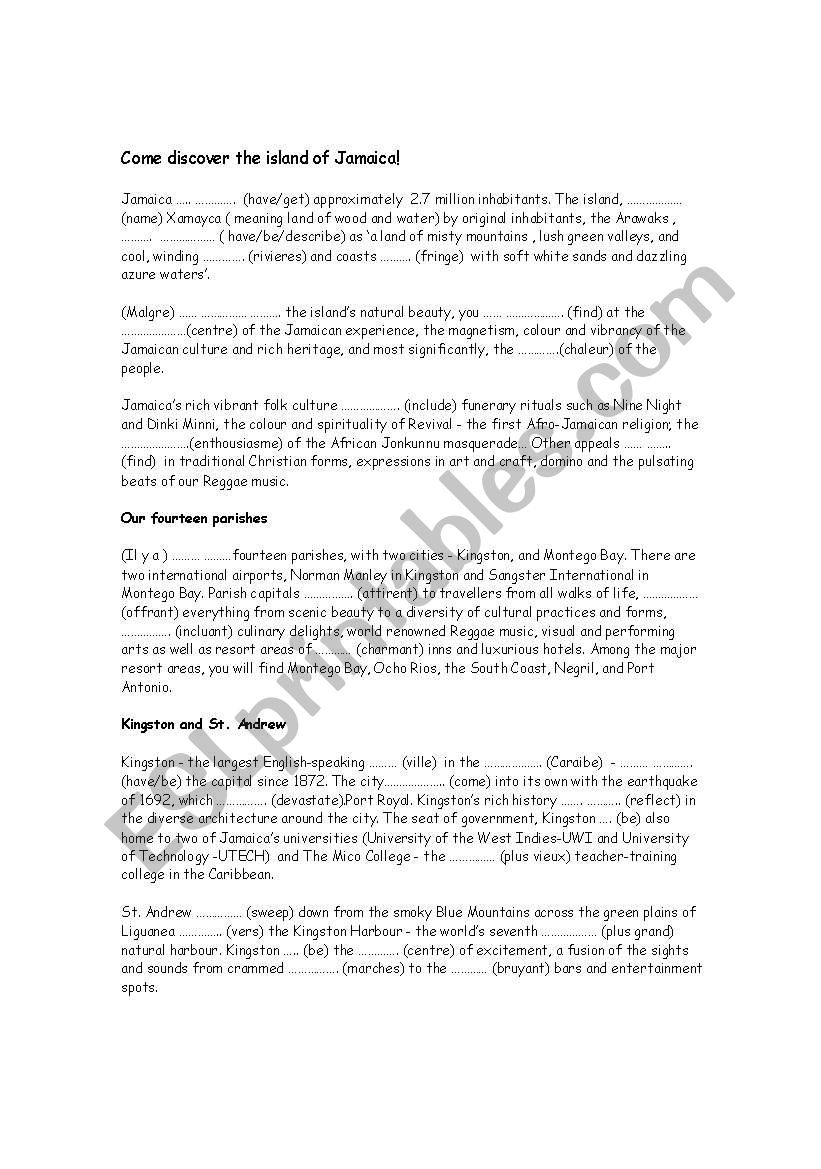 Discover Jamaica worksheet