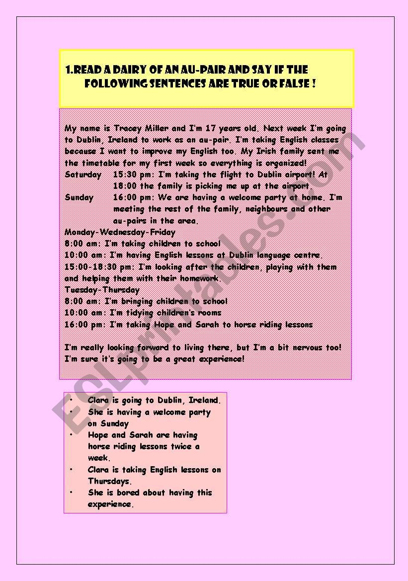 the diary of an au pair worksheet