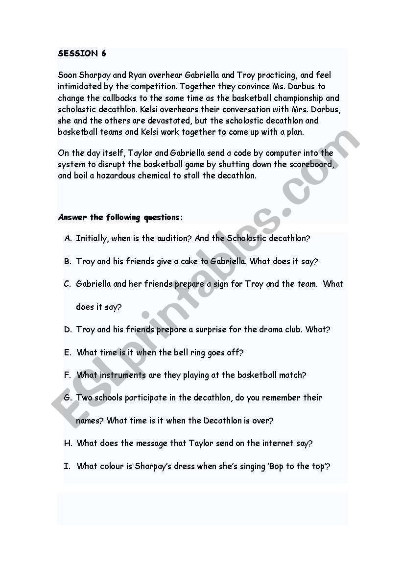 Bop to the top High School Musical 2 - ESL worksheet by levelmoia