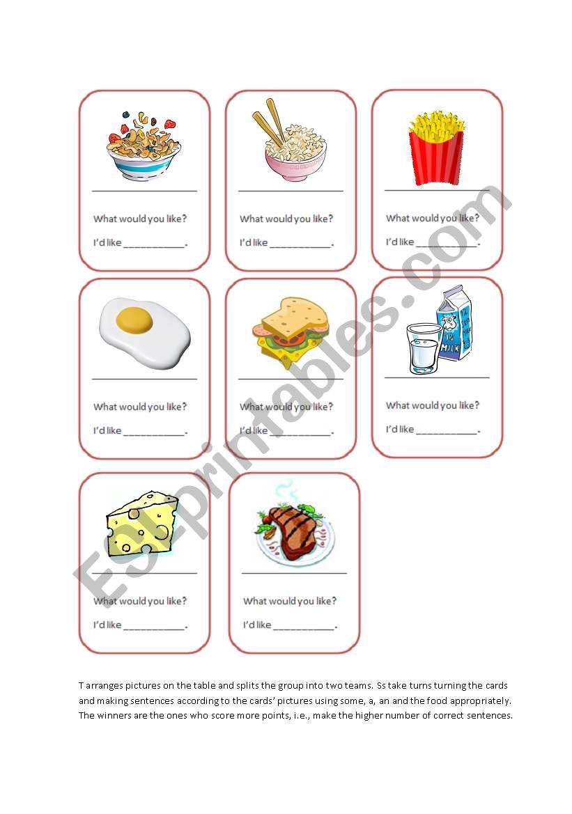 Food Cards Game_Some-a-an worksheet